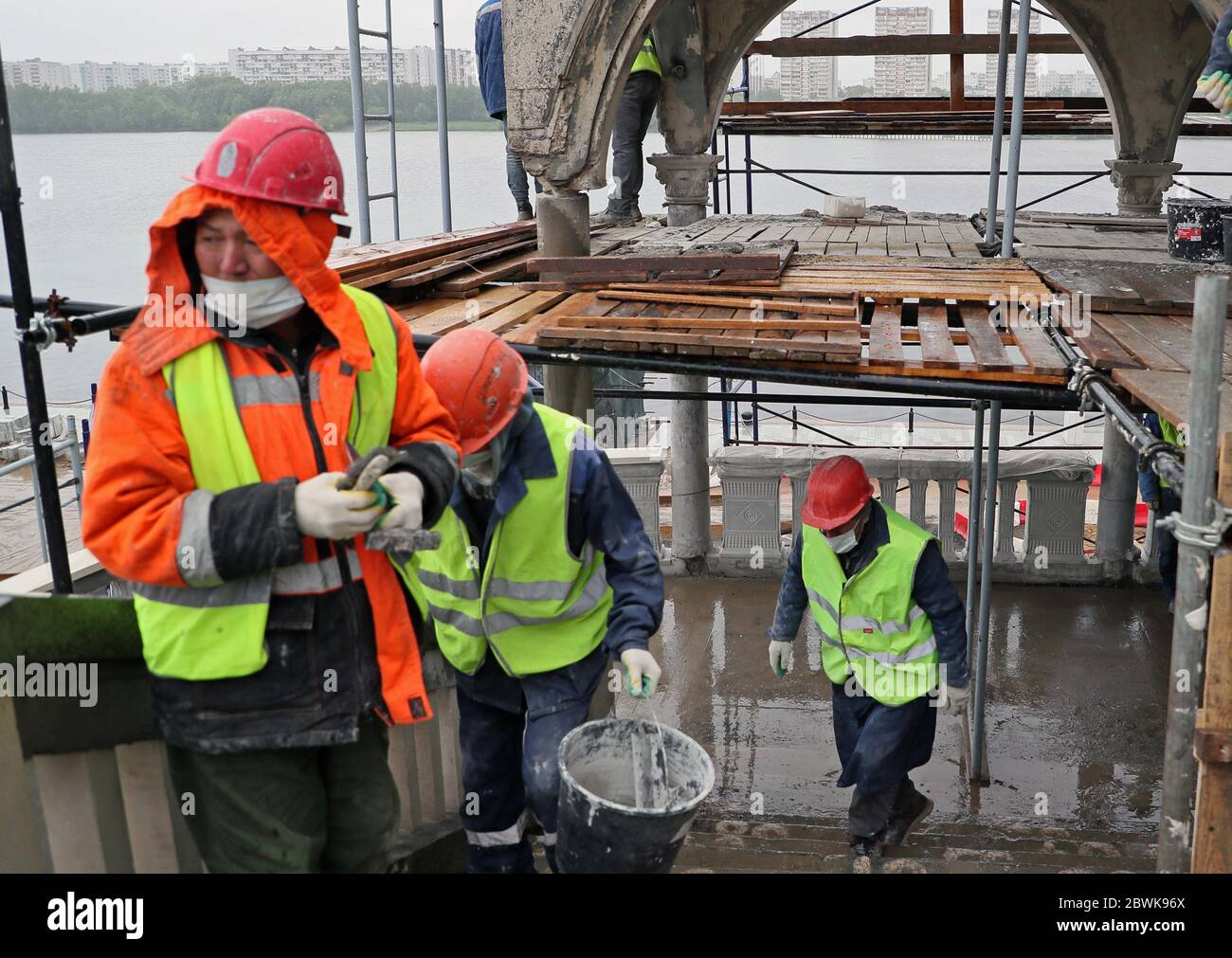 Moscow, Russia. 2nd June, 2020. Workers are seen at the reconstruction site of the North River Terminal. Credit: Gavriil Grigorov/TASS/Alamy Live News Stock Photo