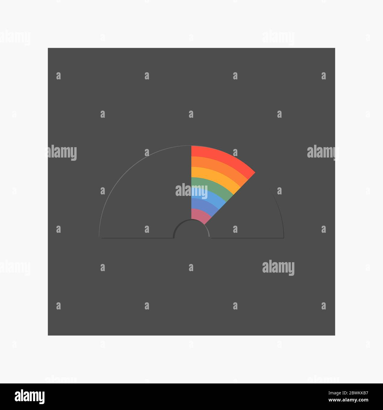 Black rainbow flat style on a black background Stock Vector