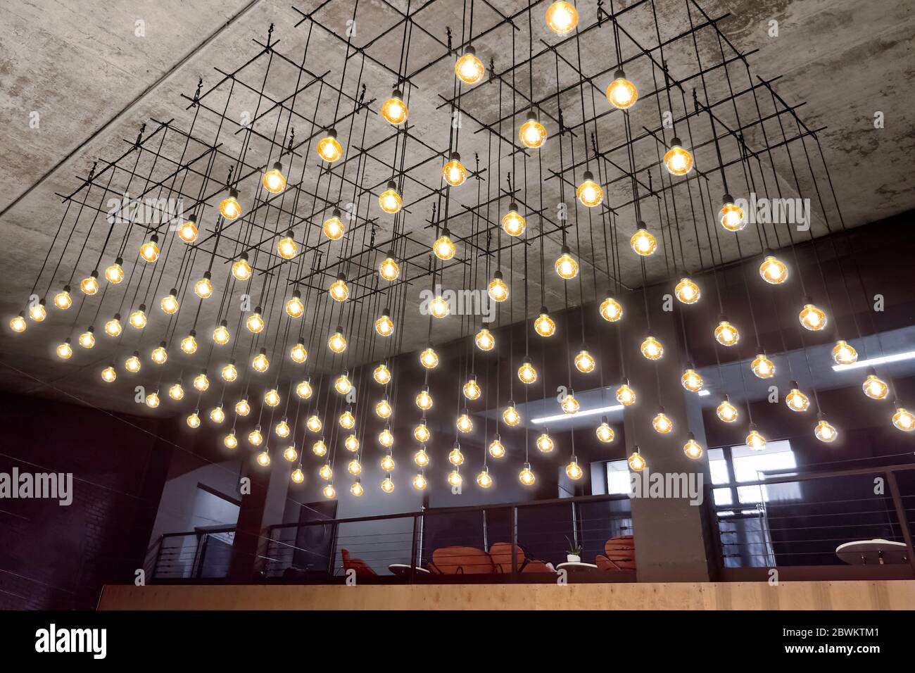 Ceiling Lamps Background Interior Of Modern House Grey Faded Background Yellow Lights Of Bulbs Soft Light Equipment Unusual Background Modern Stock Photo Alamy
