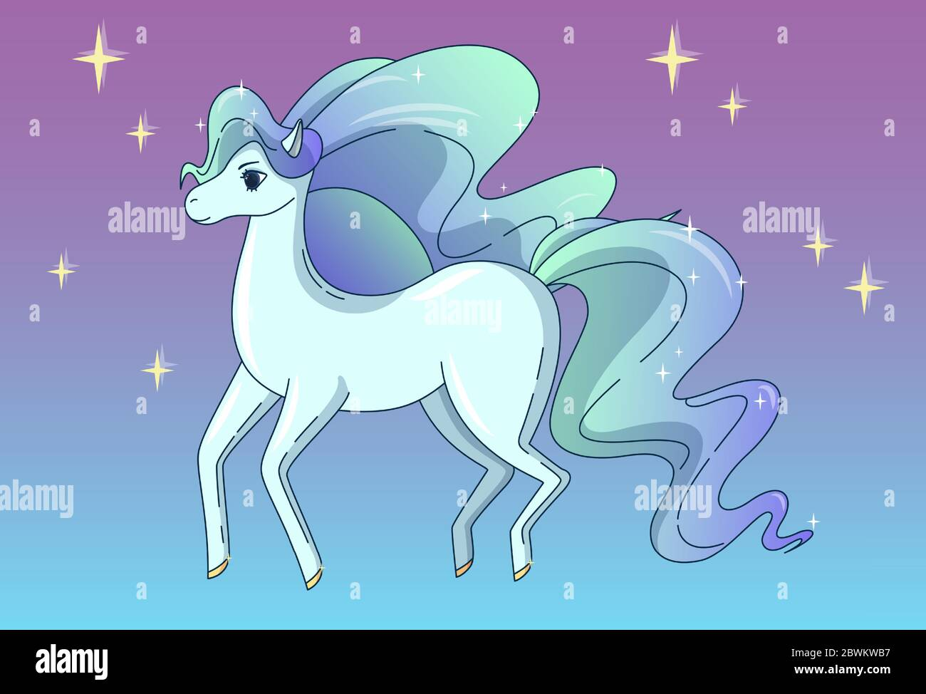 Pretty Horse With Waving Mane And Tail Shining Like A Brilliant Vector Illustration In Cute Cartoon Style Stock Vector Image Art Alamy