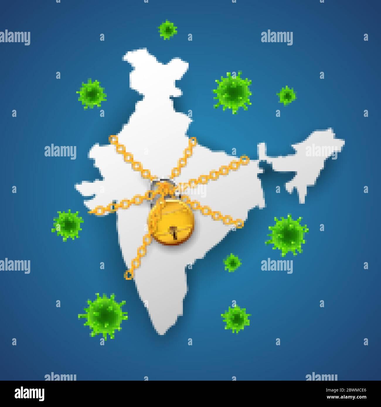 illustration of medical background showing India lockdown due to deadly Novel Coronavirus 19 epidemic outbreak Stock Vector