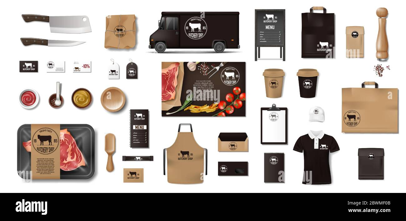 Variety of food in the butcher shop. Restaurant Brand Identity mockup set. Branding packaging elements meat, steak, uniform, menu, delivery van, knife Stock Vector