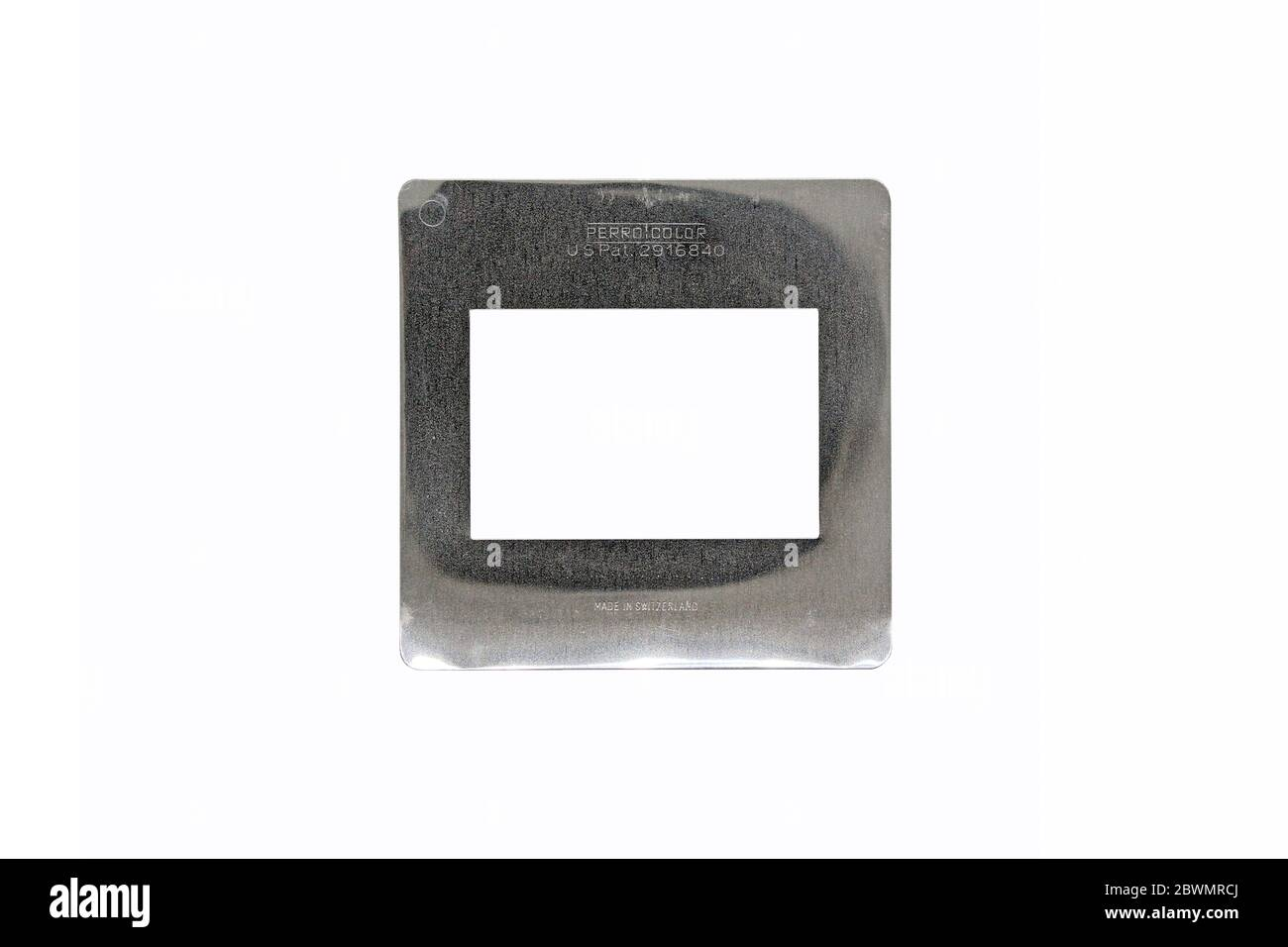 Silver Agfa slide frame isolated on a white background Stock Photo