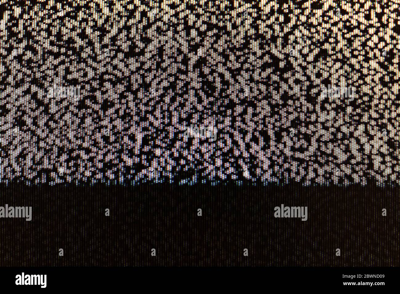 TV screen static abstract pixel glitch analog noise pixelized background texture, copy space. Retro pixelated television screen, scary creepy monitor Stock Photo