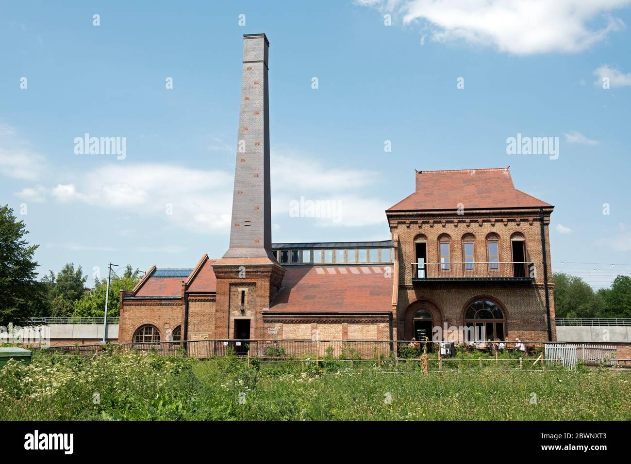 Marine Engine House formally Ferry Lane Pumping Station with 24 meter high Swift Tower, Walthamstow Wetlands London Borough of Waltham Forest, England Stock Photo