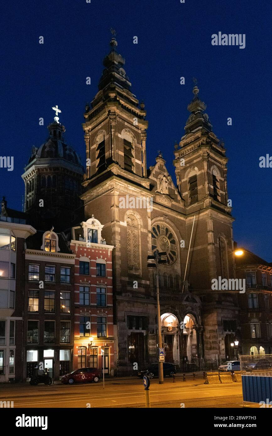 Basilica of Saint Nicholas Amsterdam, is located in the Old Centre district of next to central railway station. Stock Photo