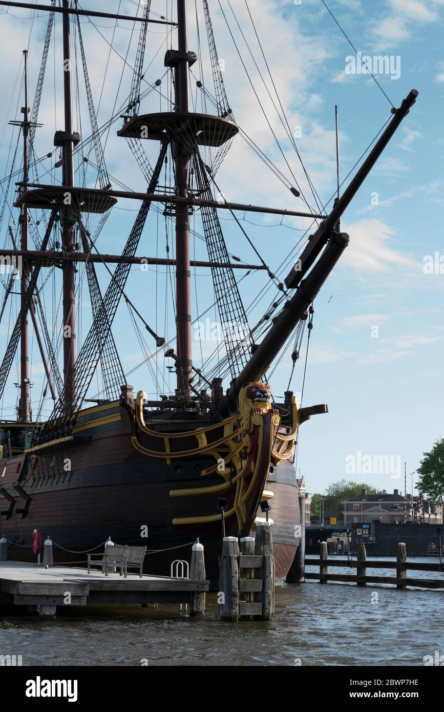 National Maritime museum with a life size boat replica Amsterdam Stock Photo