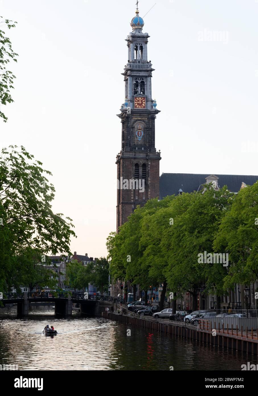 Western church Amsterdam spring 2020,Hendrick de Keyser 1565-1621 was the architect of Westerkerk. Stock Photo