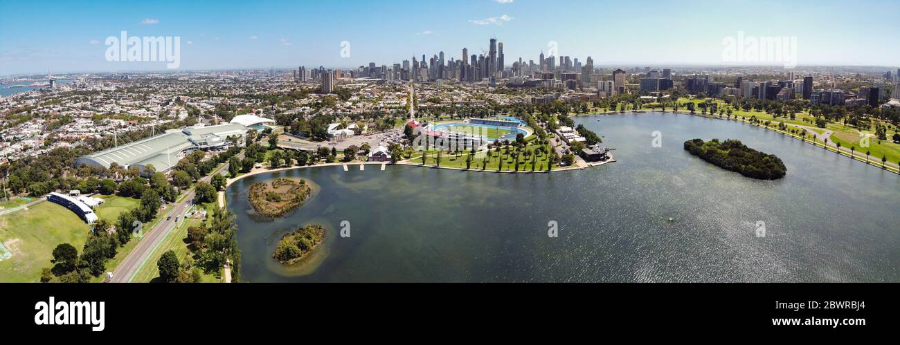Melbourne Australia February 4th 2020 : Aerial view of Albert Park lake and city of Melbourne in the background Stock Photo