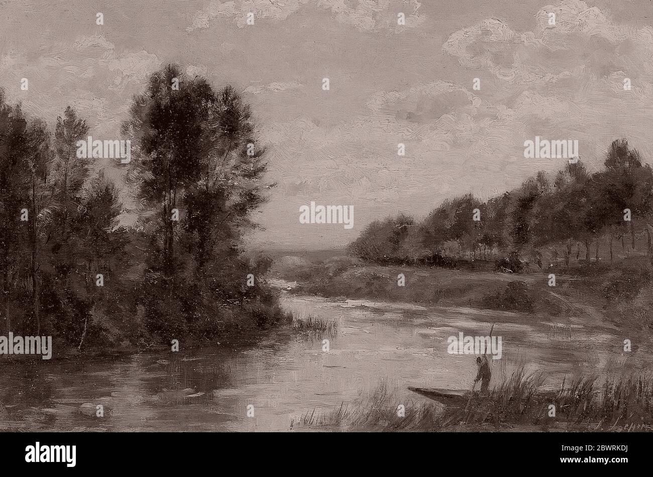 Author: Stanislas Lpine. A Stream in France - c. 1880 - Stanislas Lpine French, 1835-1892. Oil on panel. 1875'1885. Stock Photo