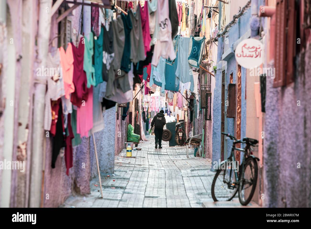 Daily life around the old town city center of Casablanca, next to the Narrow bazaar . This popular market includes hand crafted things, fresh food Stock Photo