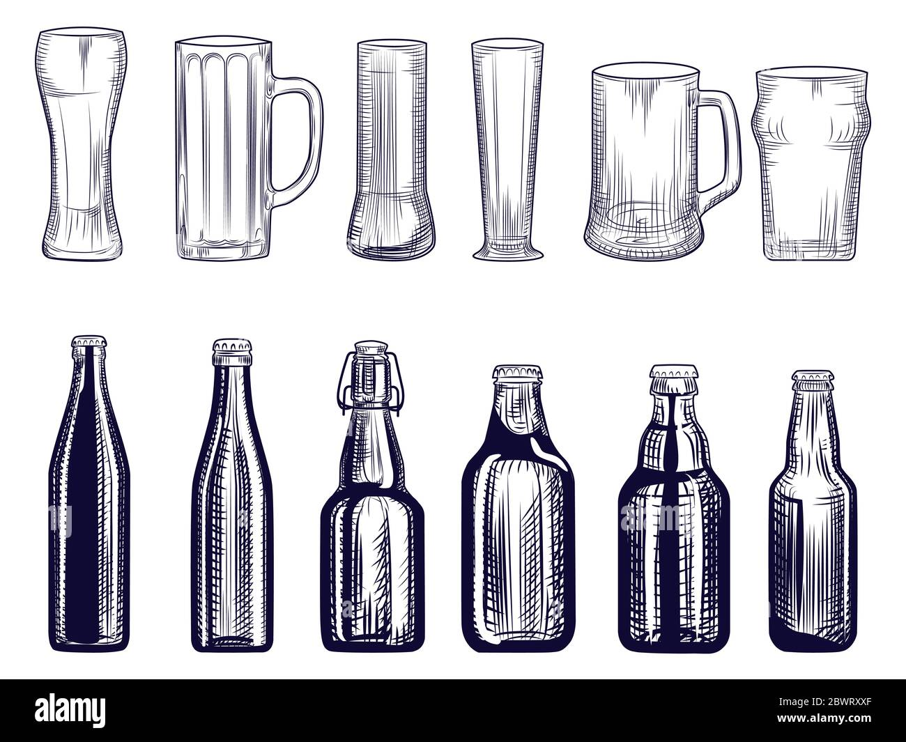 Set of beer bottles and mug. Different Beer glasses. Engraving style. Alcoholic beverage design. Hand drawn vector illustration isolated on white back Stock Vector