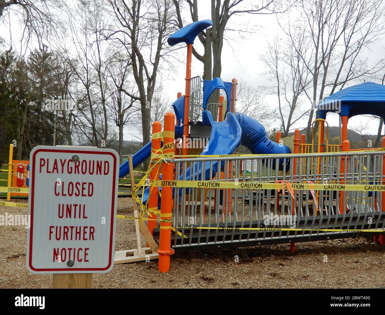Playground Closed Due to Pandemic, Wellsville, New York, USA. Stock Photo
