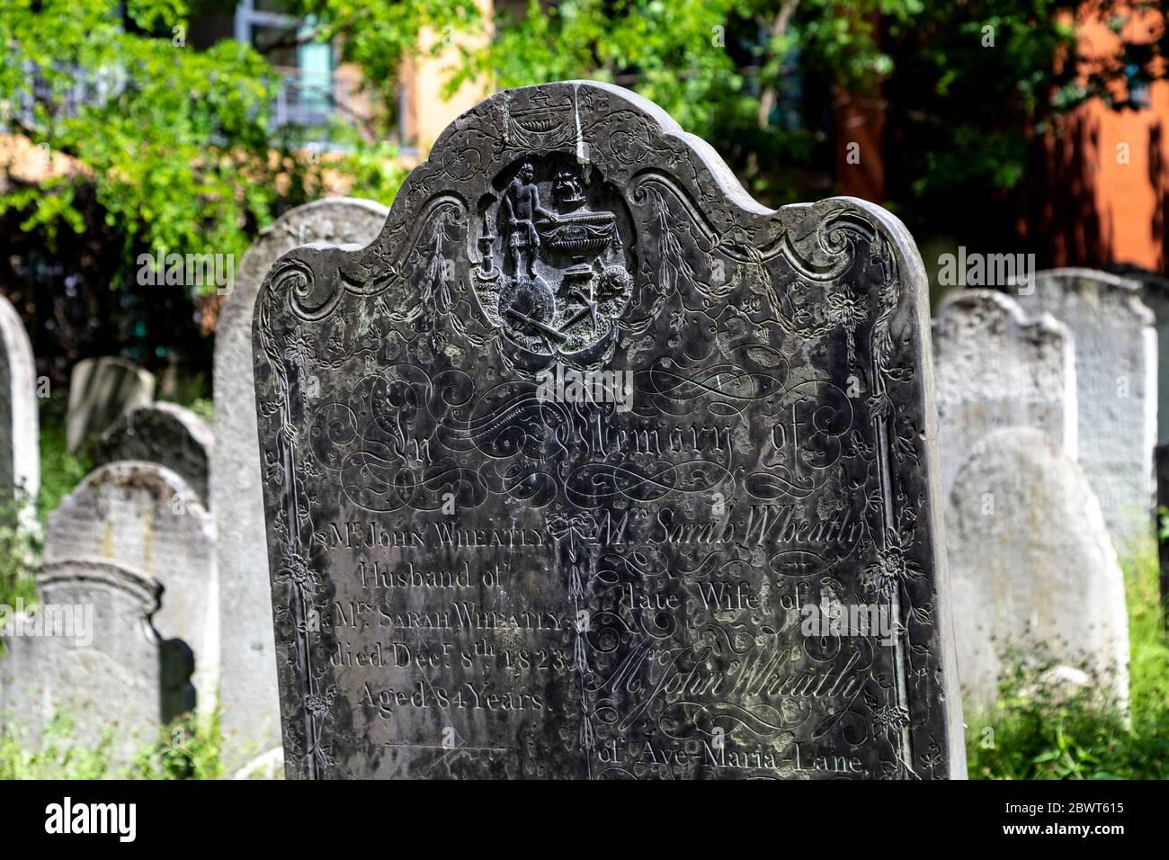 Bunhill Fields Burial Ground, London, UK Stock Photo