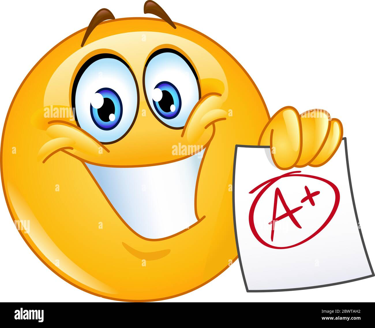 Happy emoticon showing a paper with perfect grade a plus Stock Vector Image & Art - Alamy