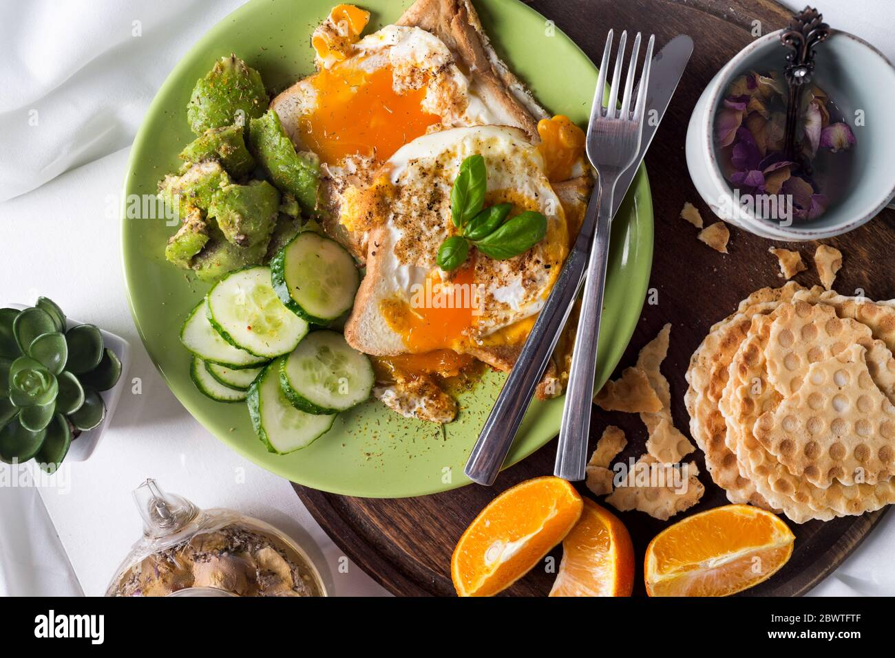 Concept Of Breakfast In Bed Healthy Breakfast Flat Lay Stock Photo Alamy