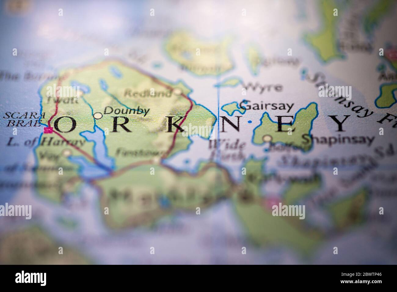 Picture of: Shallow Depth Of Field Focus On Geographical Map Location Of Orkney Scotland United Kingdom Great Britain Europe Continent On Atlas Stock Photo Alamy