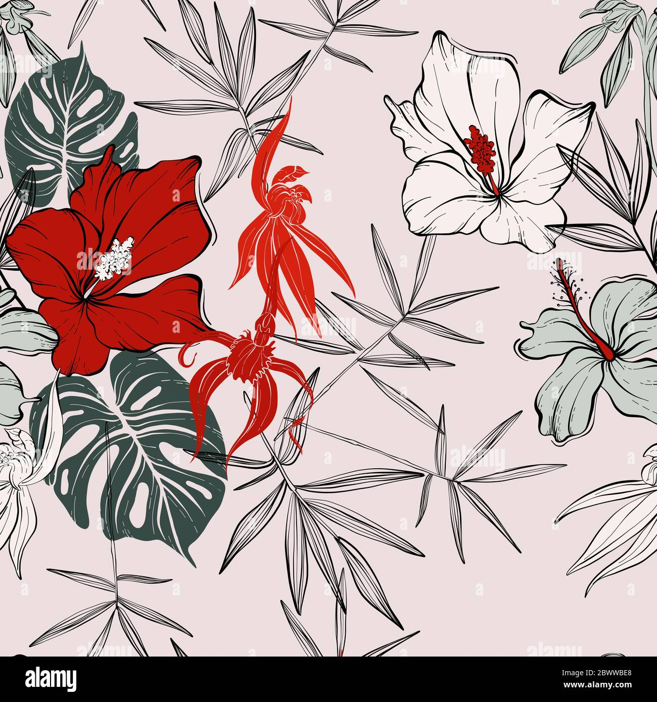 Flower Seamless Pattern Floral Monstera Hibiscus Vector Background In Red Pink Greeen Colors Abstract Line Art Illustration Vintage Plants Summe Stock Vector Image Art Alamy