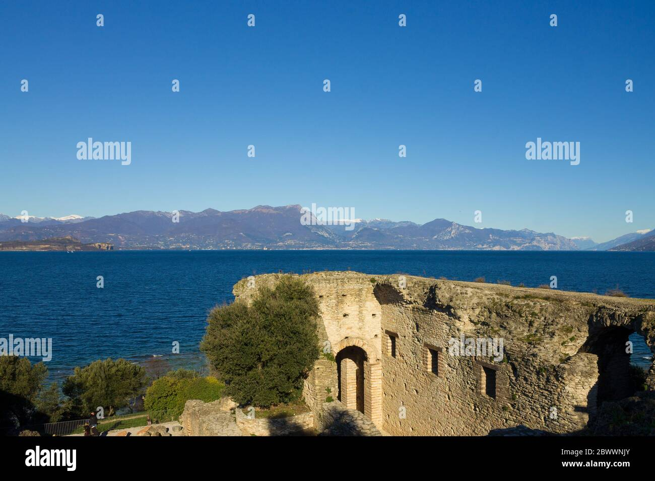 View of Garda Lake from the Grottoes of Catullus Stock Photo
