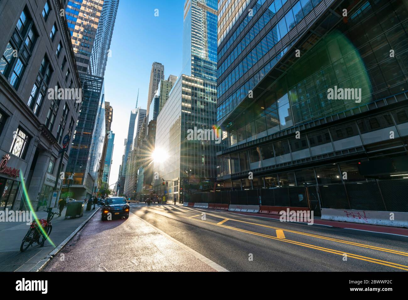 People and traffic disappears from Midtown 42nd Street for impact of COVID-19 at New York NY USA on Memorial Day May 25 2020. Stock Photo