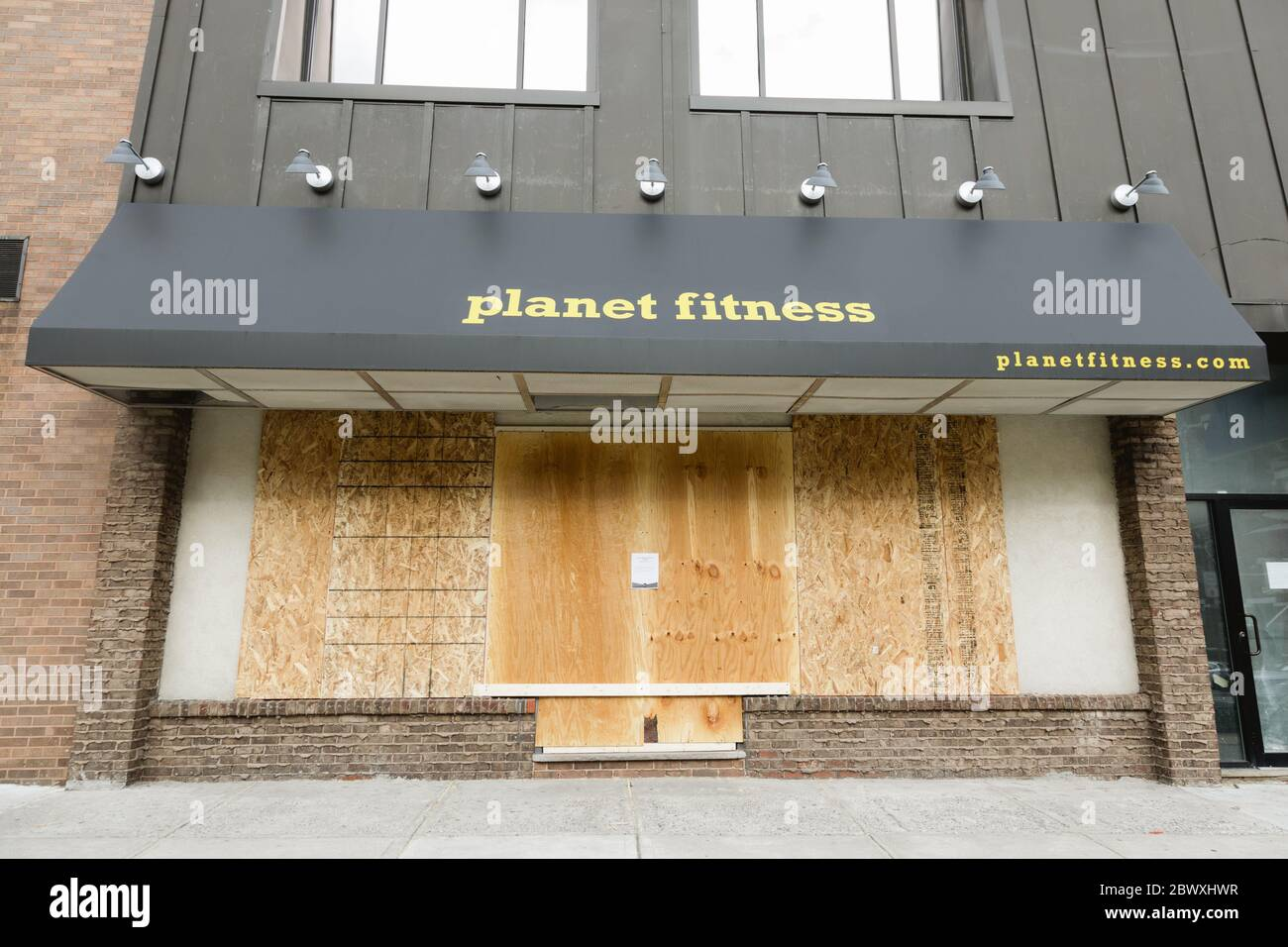 Hoboken Nj Usa June 2 2020 Planet Fitness Gym Storefront Is Protected With Plywood In Preparation For George Floyd Protest For Black Lives Matt Stock Photo Alamy