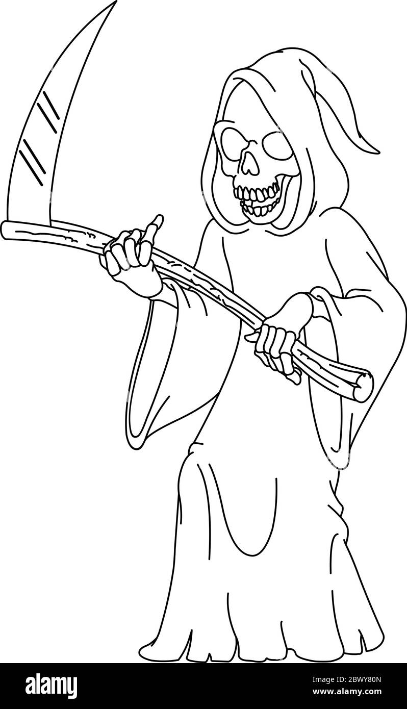 Outlined Laughing Grim Reaper Holding A Scythe Vector Line Art Illustration Coloring Page Stock Vector Image Art Alamy