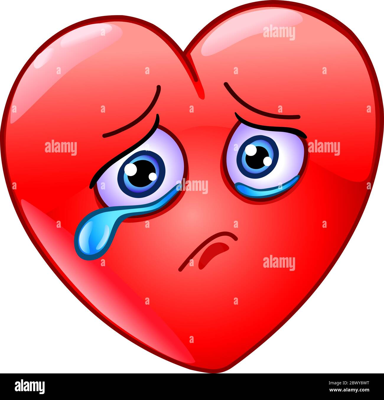 sad and crying heart emoticon 2BWY8WT