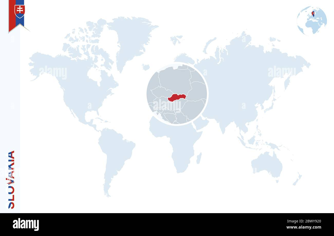 Picture of: World Map With Magnifying On Slovakia Blue Earth Globe With Slovakia Flag Pin Zoom On Slovakia Map Vector Illustration Stock Vector Image Art Alamy