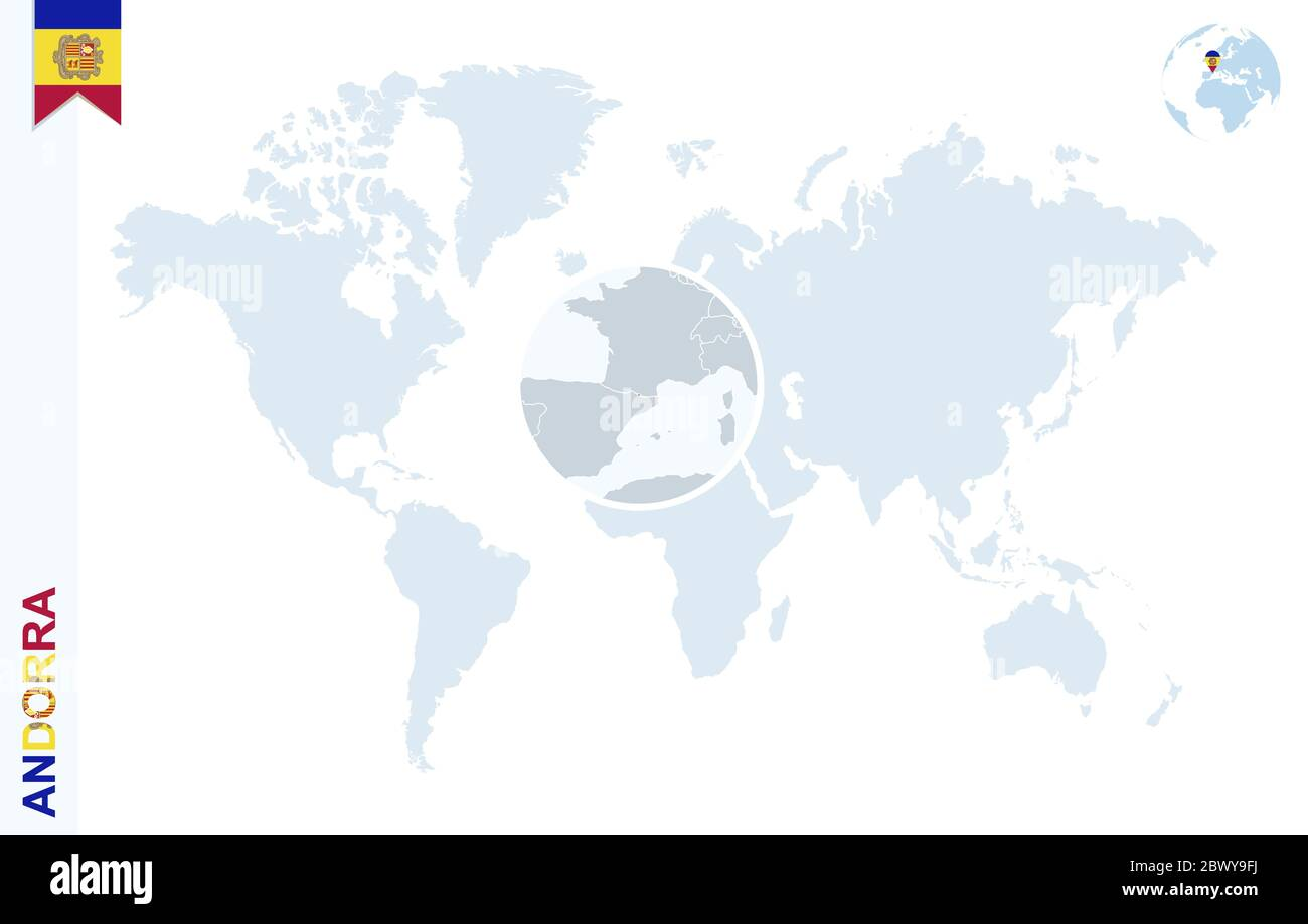 Picture of: World Map With Magnifying On Andorra Blue Earth Globe With Andorra Flag Pin Zoom On Andorra Map Vector Illustration Stock Vector Image Art Alamy