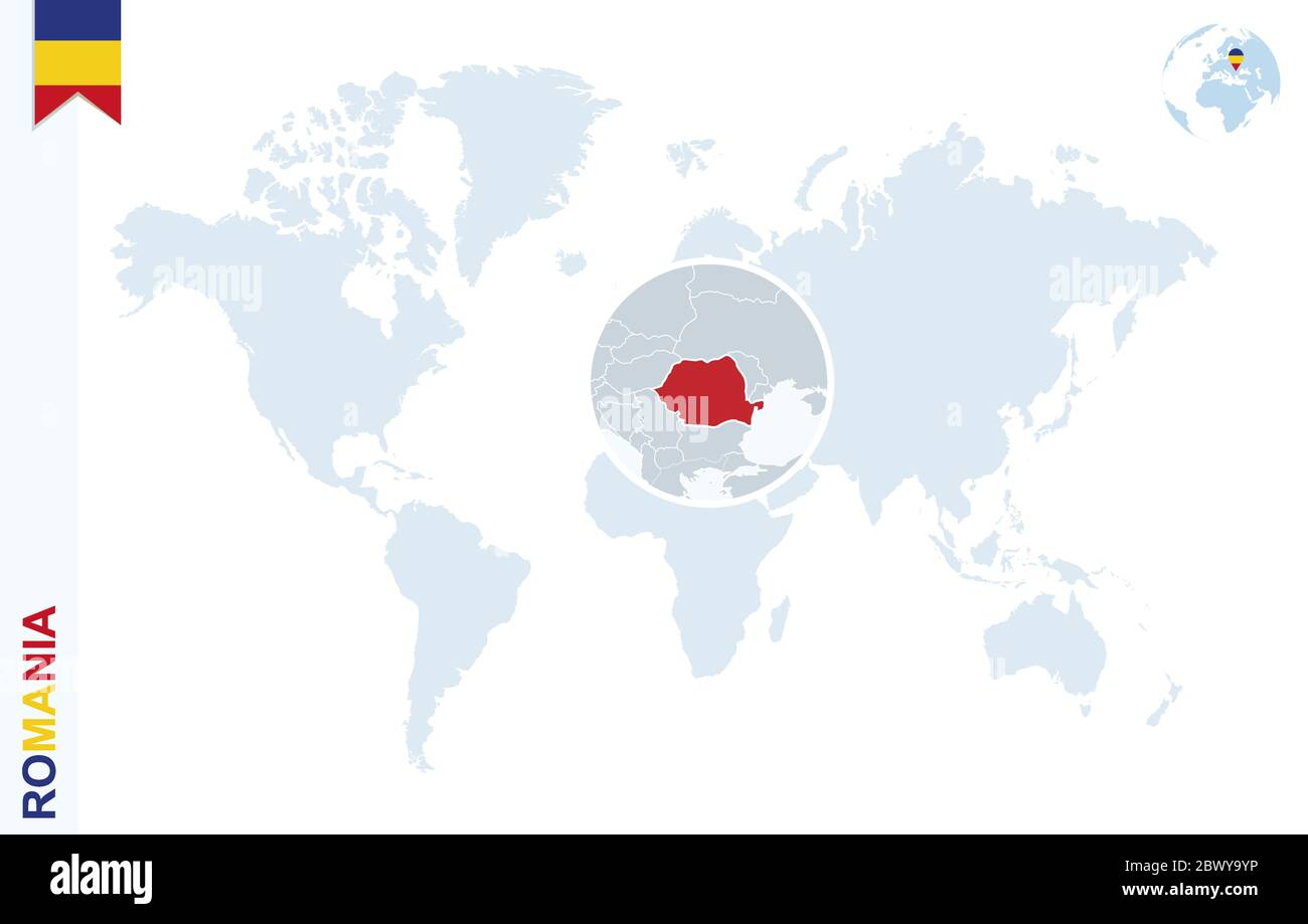 Image of: World Map With Magnifying On Romania Blue Earth Globe With Romania Flag Pin Zoom On Romania Map Vector Illustration Stock Vector Image Art Alamy