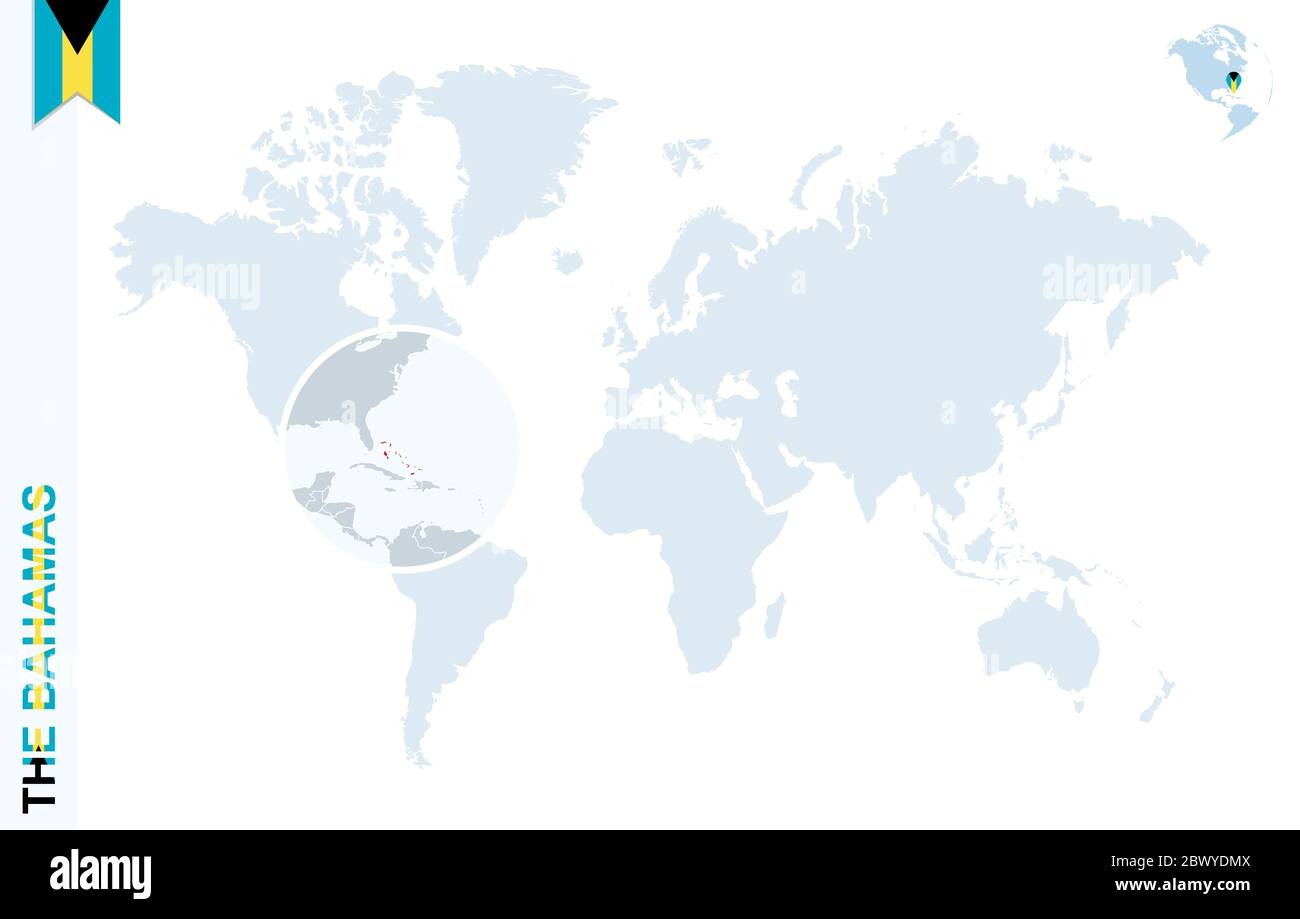 Picture of: World Map With Magnifying On The Bahamas Blue Earth Globe With The Bahamas Flag Pin Zoom On The Bahamas Map Vector Illustration Stock Vector Image Art Alamy