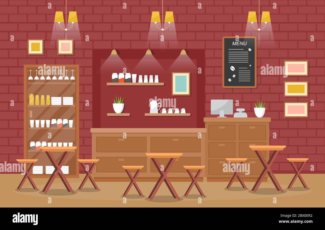 Modern Cafe Coffee Shop Interior Furniture Restaurant Flat Design Illustration Stock Vector Image Art Alamy