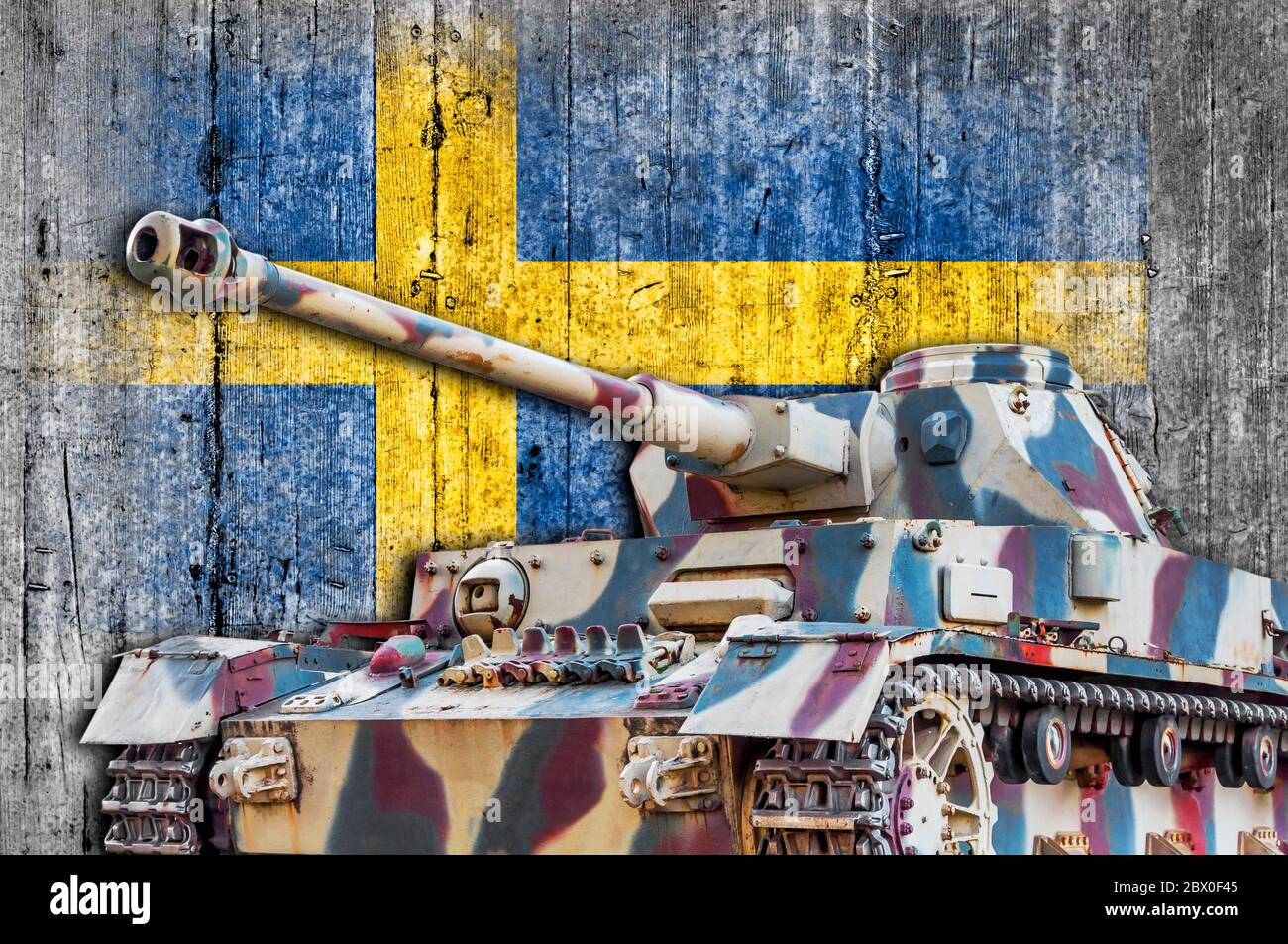 Military tank with concrete Sweden  flag Stock Photo