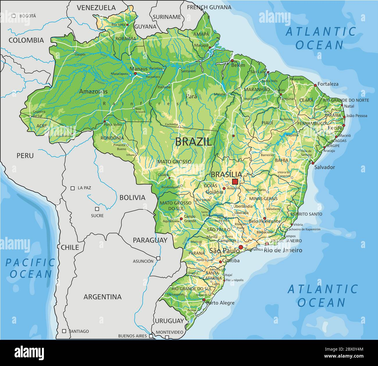 Image of: High Detailed Brazil Physical Map With Labeling Stock Vector Image Art Alamy