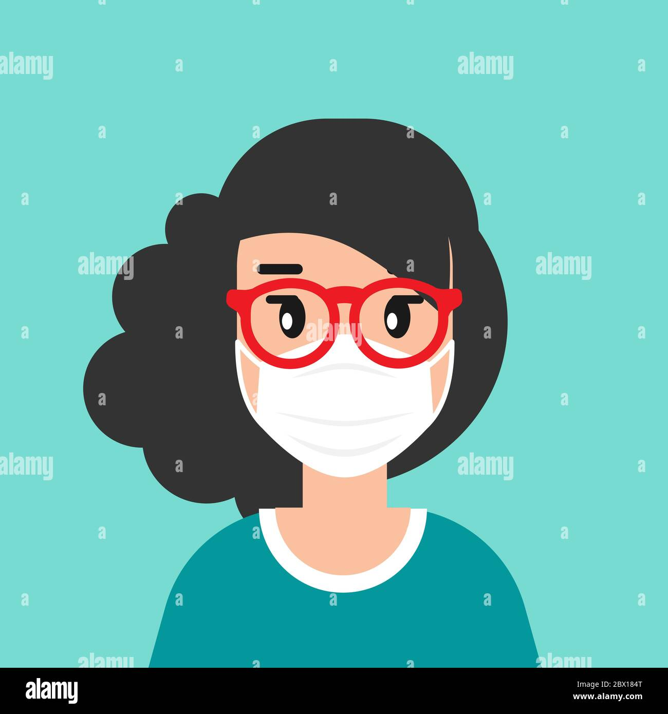 Girl With Medical Mask Avatar Cute Woman With Black Hair Flat