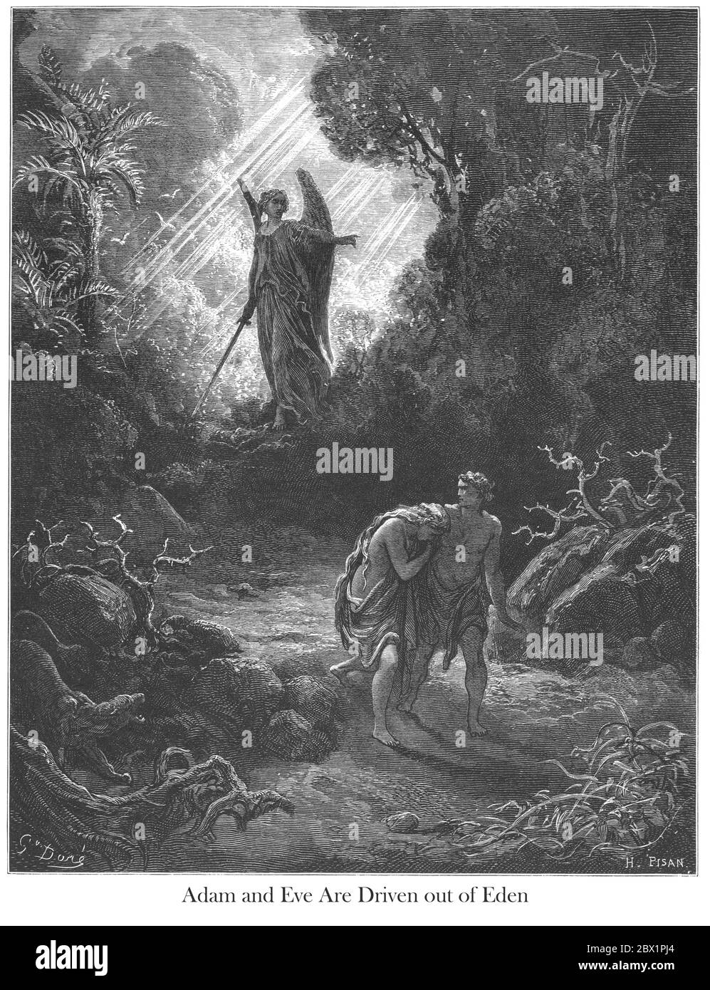 Adam and Eve Driven Out of Eden Genesis 3:24 From the book 'Bible Gallery' Illustrated by Gustave Dore with Memoir of Doré and Descriptive Letter-press by Talbot W. Chambers D.D. Published by Cassell & Company Limited in London and simultaneously by Mame in Tours, France in 1866 Stock Photo