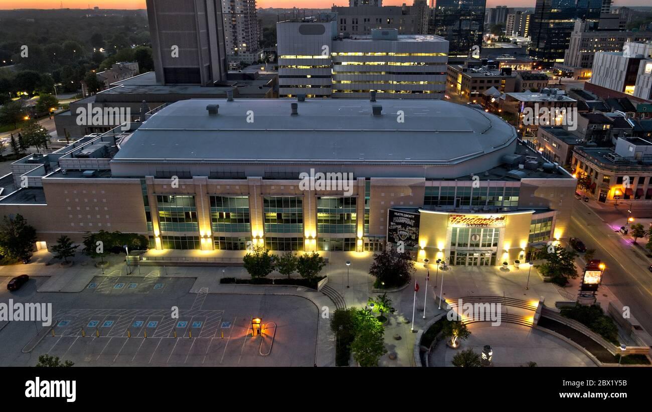 Budweiser Gardens London Ontario Aerial Night Stock Photo Alamy
