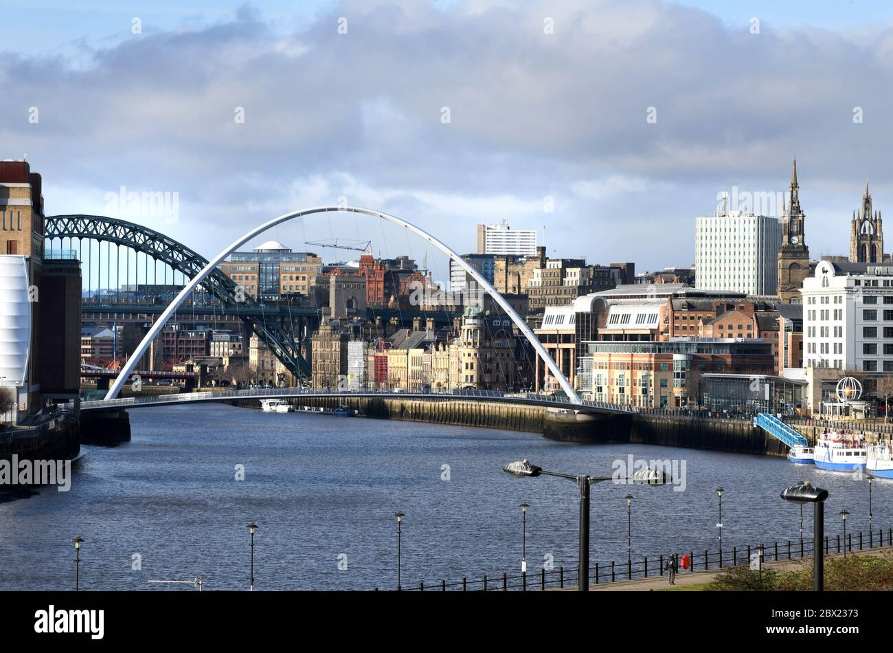 Newcastle upon Tyne skyline and River Tyne showing The Millennium Bridge and The Tyne Bridge. Stock Photo