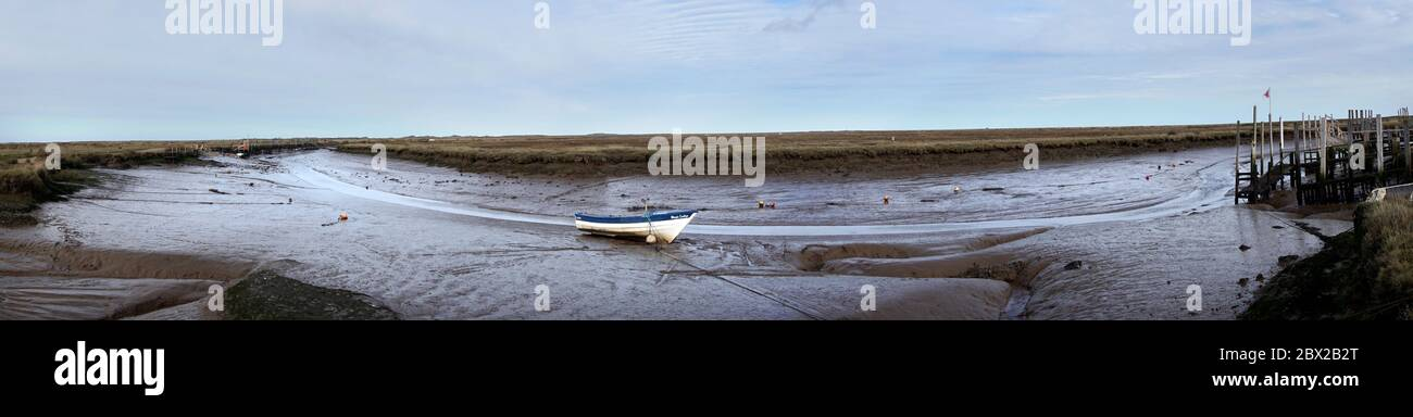 low tide at morston quay morston north norfolk england Stock Photo