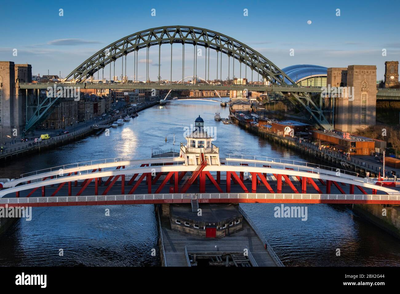 Newcastle Swing Bridge, Tyne Bridge and River Tyne, Newcastle Upon Tyne, Tyne & Wear England, UK Stock Photo