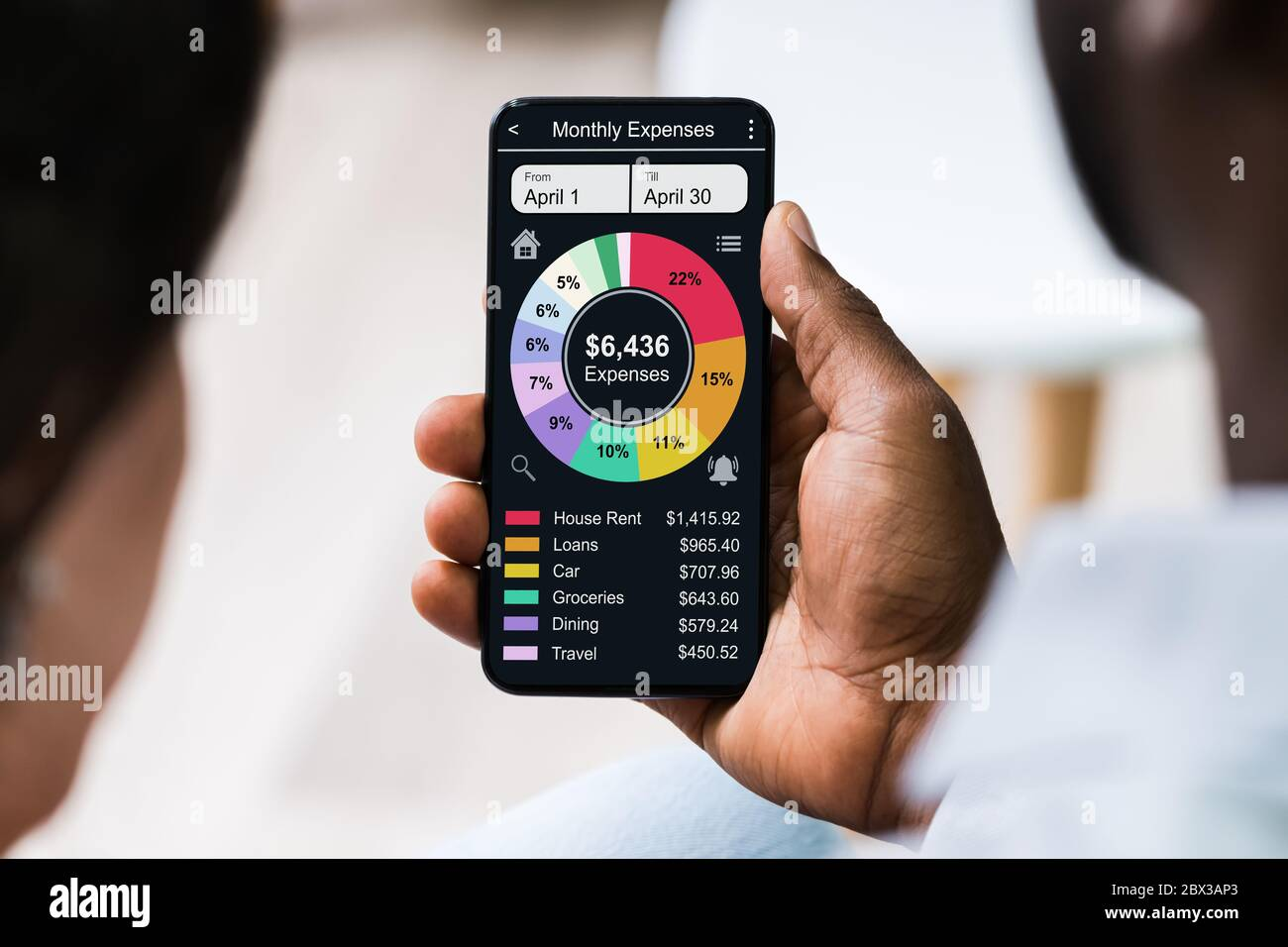 Mobile Phone App For Money, Budget And Expense Tracking Stock Photo