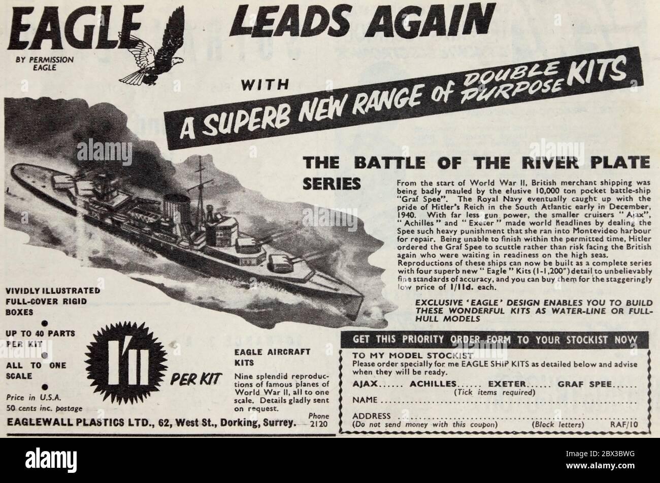 Vintage advertisement for Eaglewall plastic model kits. Stock Photo