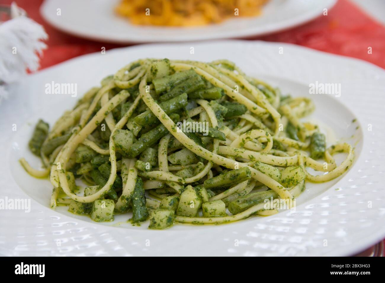 Close up view of a traditional green pasta dish: green Spaghetti with green bean and zucchini, served in a white plate Stock Photo