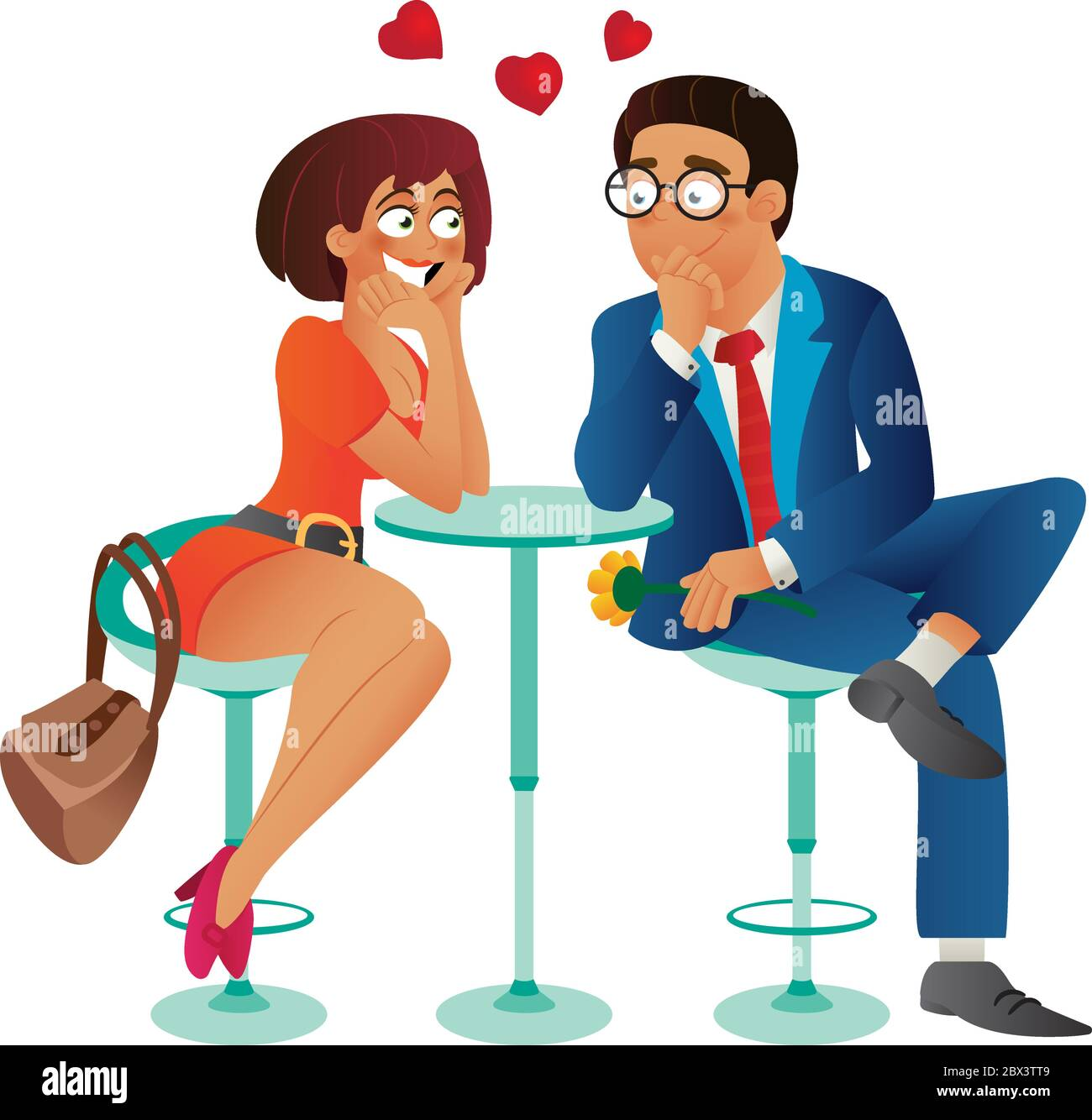 Speed Dating Romantic Love Event In Cafe Young Business Woman And Man Couple On A Date Talking Meeting Flirt And Fall In Love Flat Cartoon Vecto Stock Vector Image Art