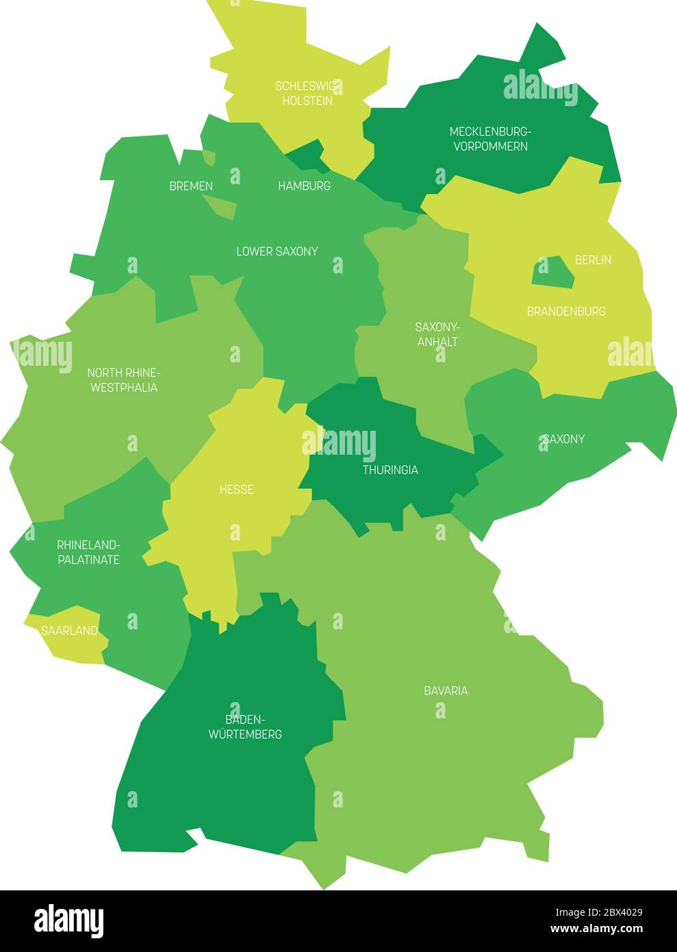 Map Of Germany Devided To 13 Federal States And 3 City States Berlin Bremen And Hamburg Europe Simple Flat Vector Map In Shades Of Green Stock Vector Image Art Alamy