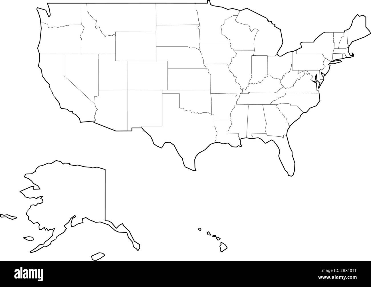 Picture of: Blank Black Vector Outline Map Of Usa United States Of America Stock Vector Image Art Alamy