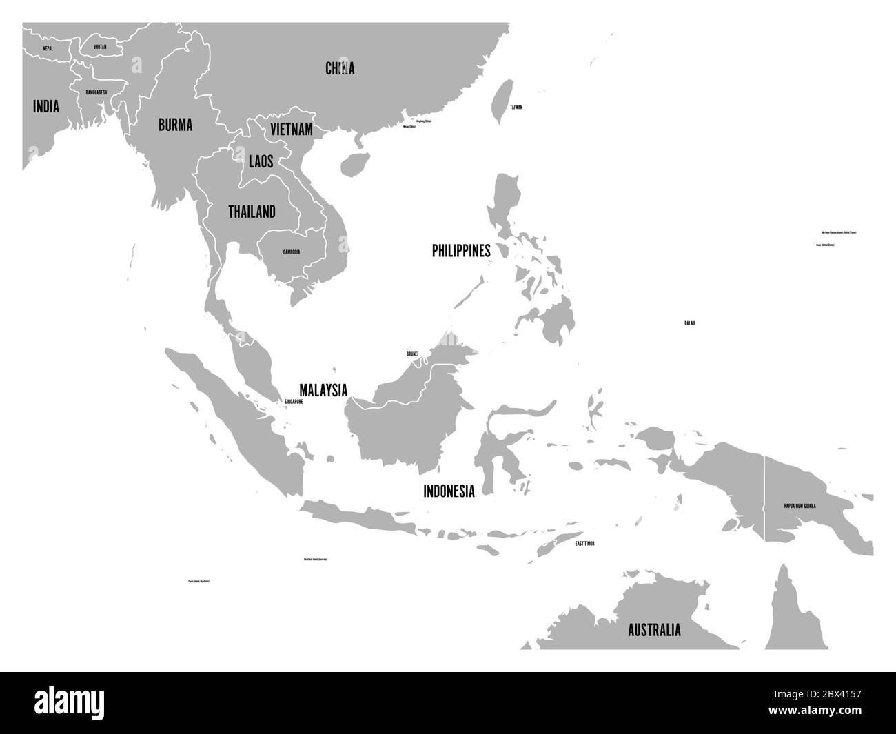 Picture of: South East Asia Political Map Grey Land On White Background With Black Country Name Labels Simple Flat Vector Illustration Stock Vector Image Art Alamy