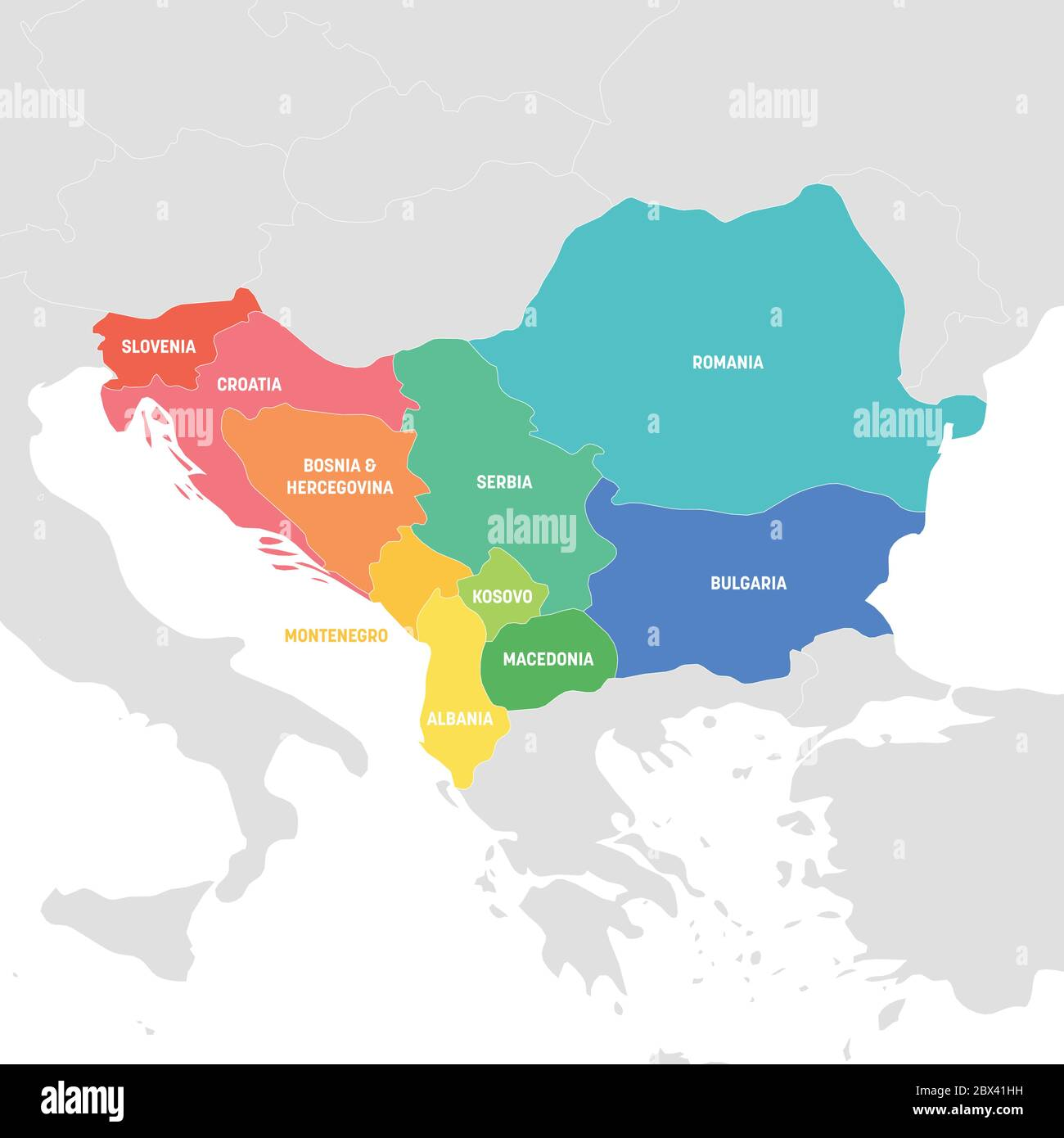 Image of: Southeast Europe Region Colorful Map Of Countries Of Balkan Peninsula Vector Illustration Stock Vector Image Art Alamy
