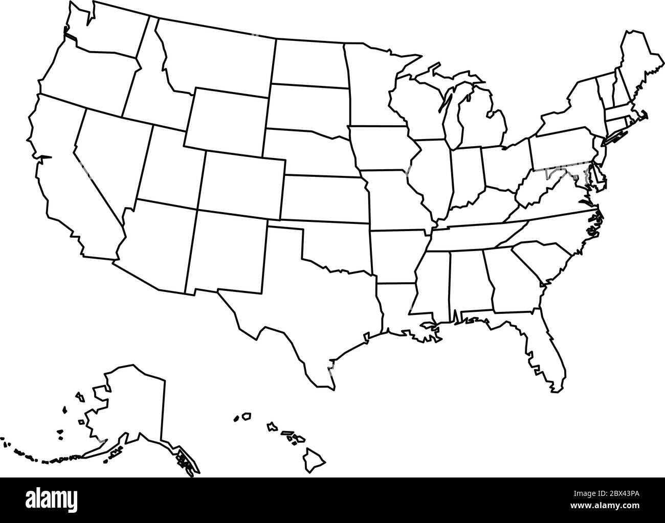 blank outline map of the united states Blank outline map of United States of America. Simplified vector