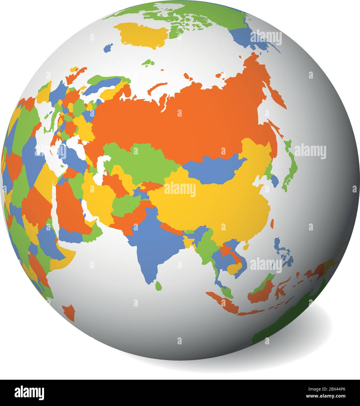 Picture of: Blank Political Map Of Asia 3d Earth Globe With Black Outline Map Vector Illustration Stock Vector Image Art Alamy